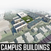 university campus buildings 3d 3ds