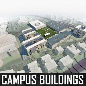university campus buildings 3d 3ds