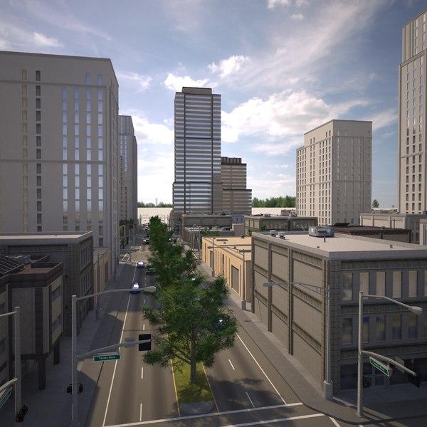 3d cityscape scene highrise model