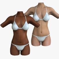 3d female torso combo model