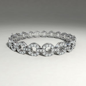 silver bracelet diamond cuts obj