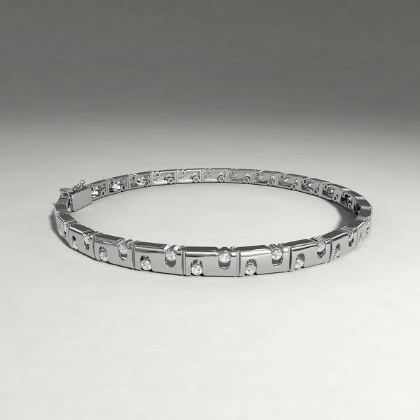 silver bracelet diamond cuts 3d obj