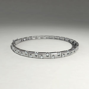 silver bracelet diamond cuts 3d obj