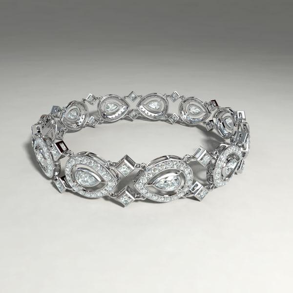 3d model of silver bracelet diamond cuts