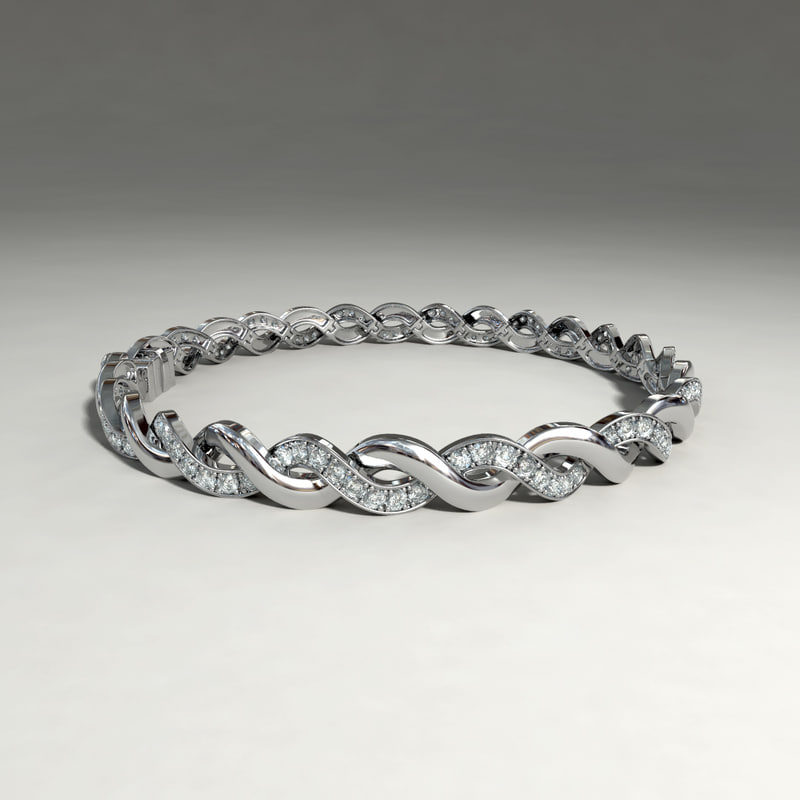3d silver bracelet diamond cuts
