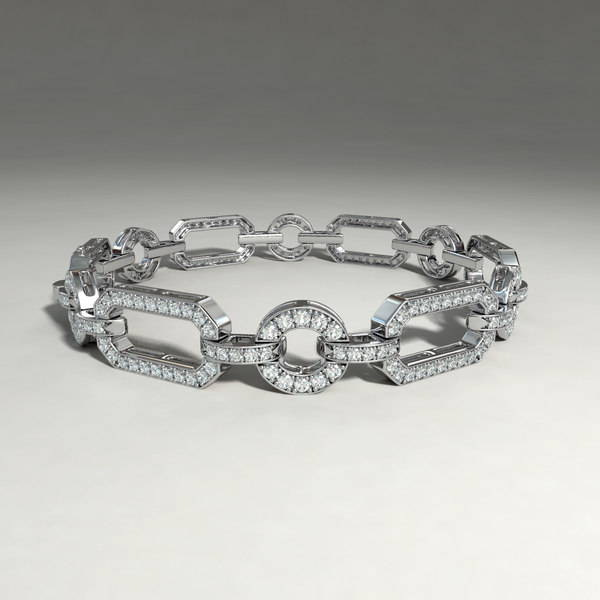 silver bracelet diamond cuts obj