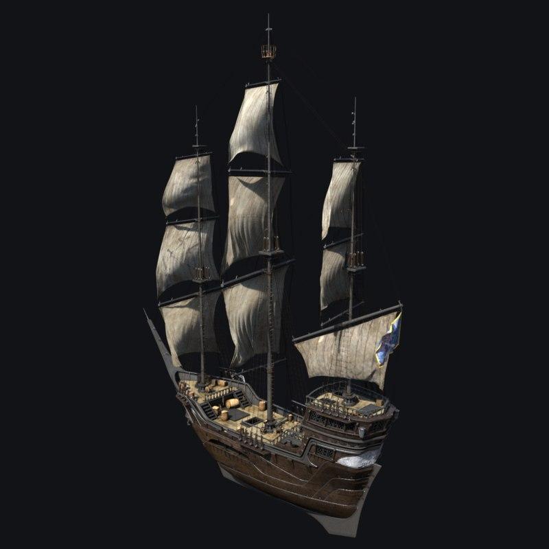 3d model ship najm sailboat