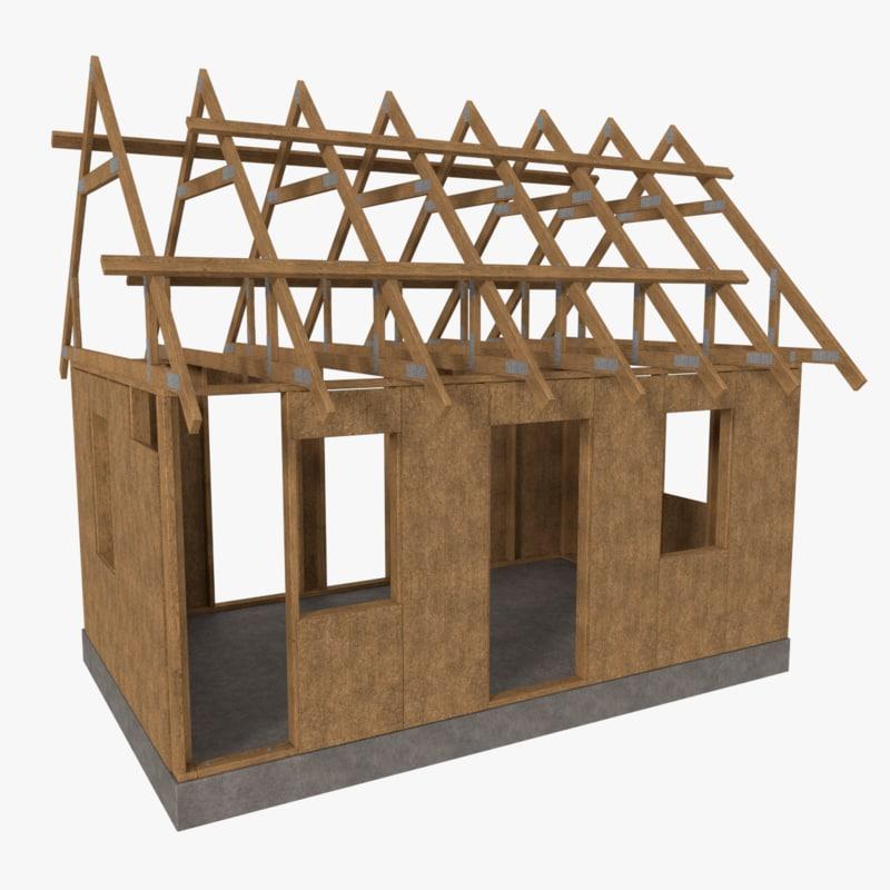 timber frame building construction 3d model
