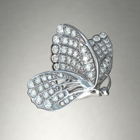 silver butterfly brooch diamond cuts 3d ma