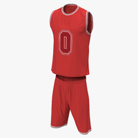 basketball uniform red 3d max