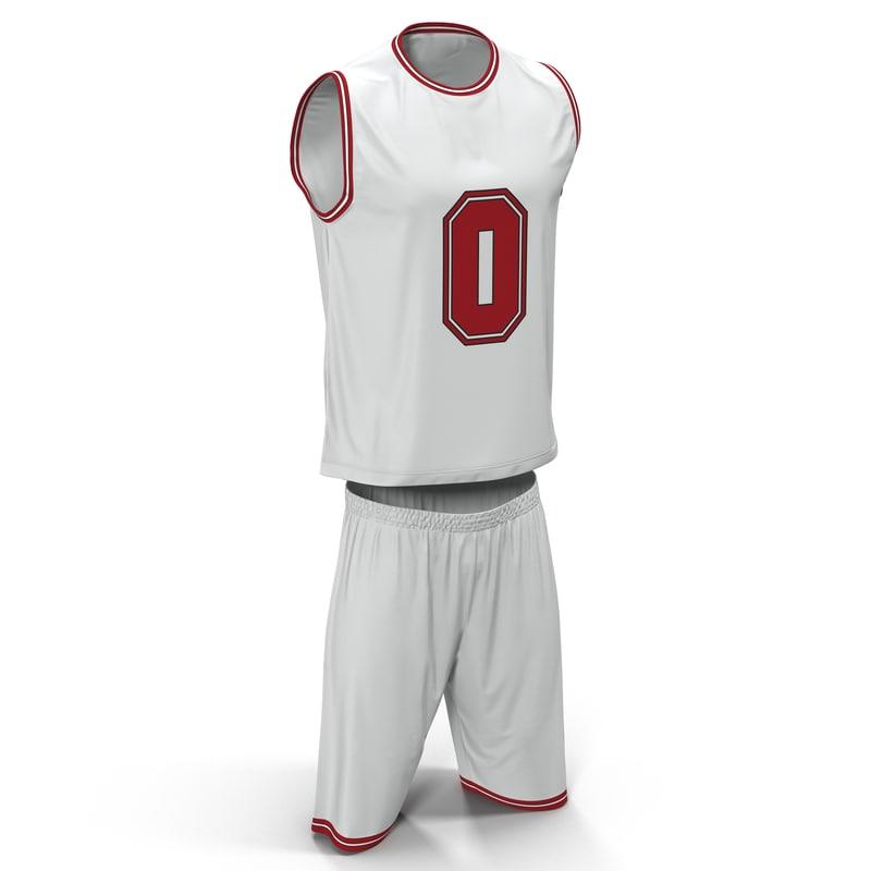3d basketball uniform white
