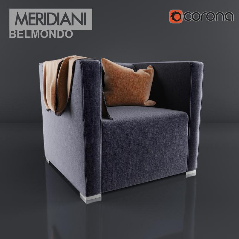 belmondo armchair meridiani 3d model