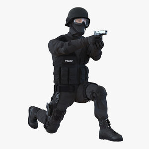 3d swat man rigged
