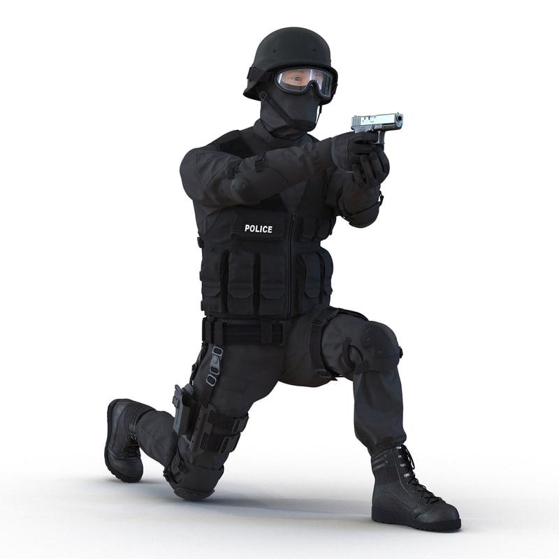 3d swat man rigged