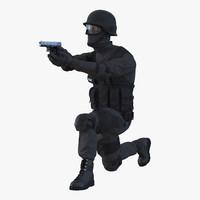 3d model swat man afro american