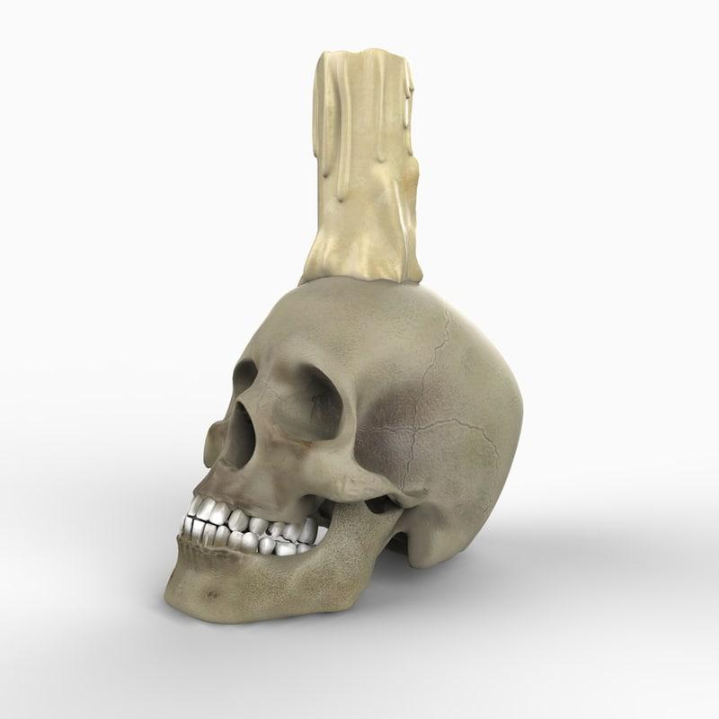 realistic skull candle 3d model