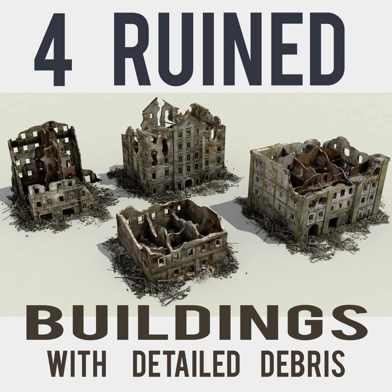 3d ruined building collections model