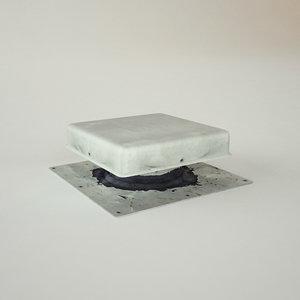 3d model rooftop vent flat