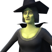 Game Ready Low Poly Witch character