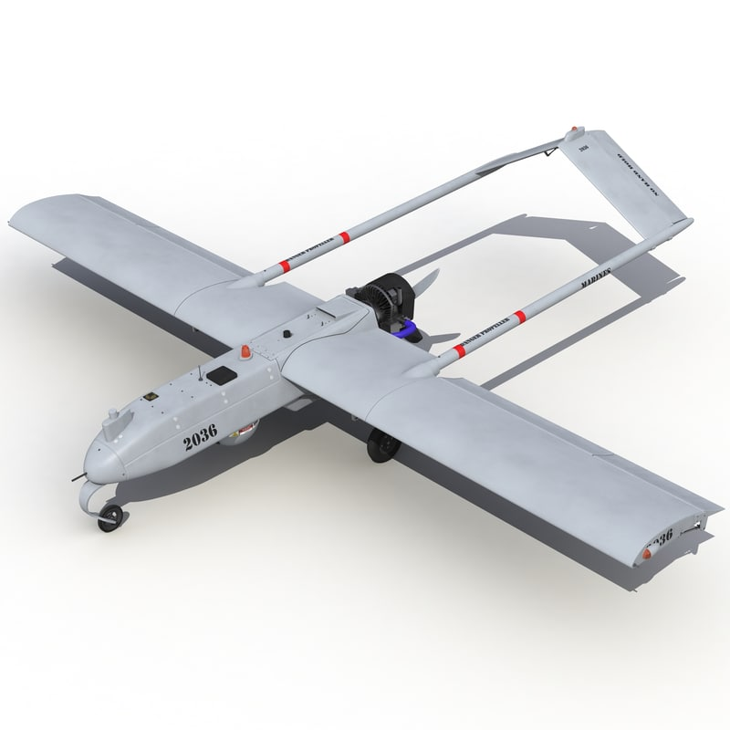 3d model of aai shadow uav rigged