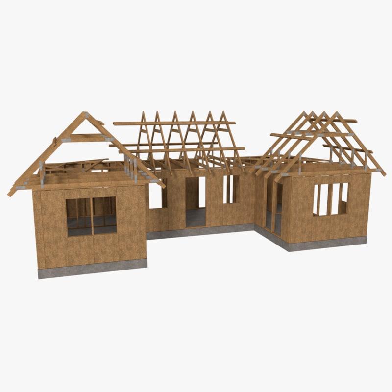 3d obj timber frame building construction