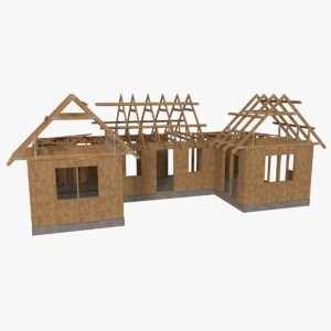 3d obj timber frame building construction