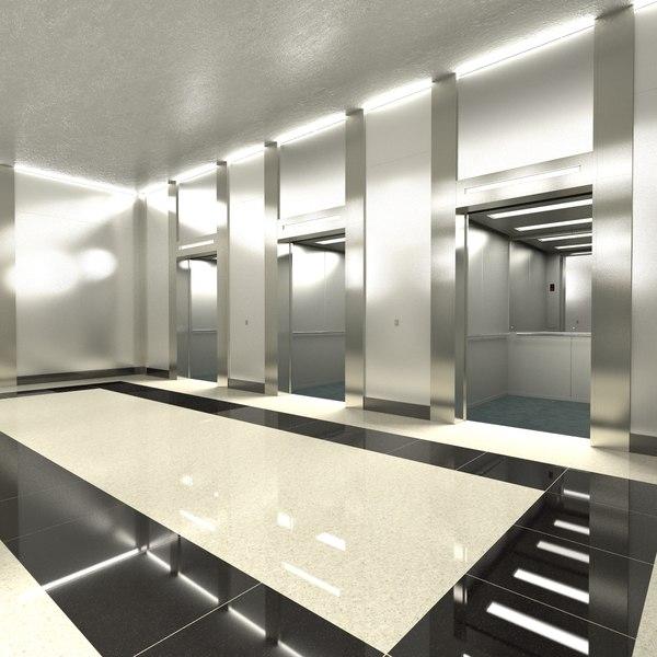 3d elevator lobby model
