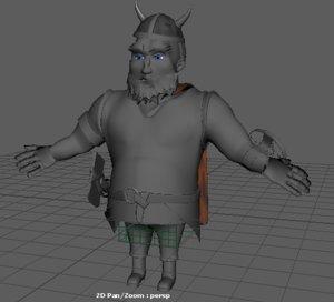 3d fat viking model