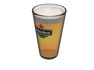 glass heineken beer 3d model