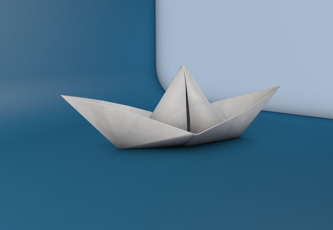 paper boat 3d model