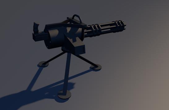 3d model gattling gun