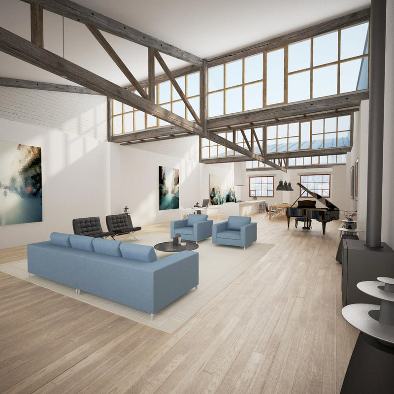 loft style living room 3d max