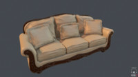 sofa old 3d obj