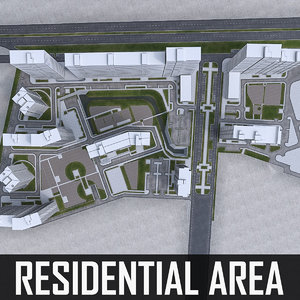 residential urban area 3d model