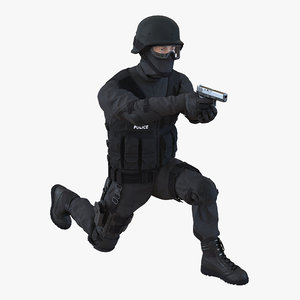 3d swat man mediterranean rigged model