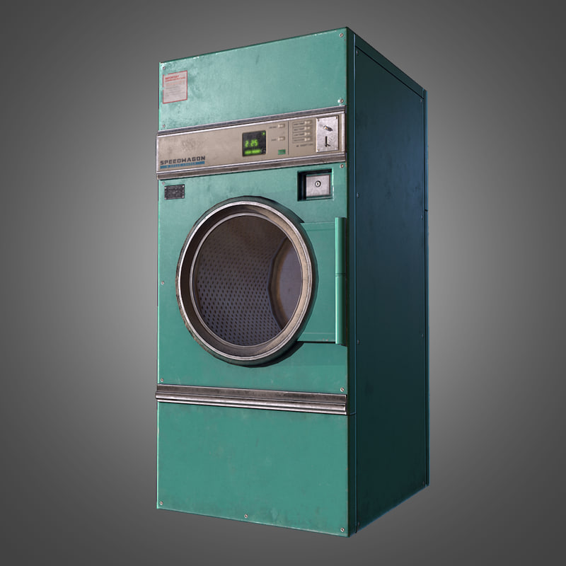 laundromat dryer ready pbr 3d obj