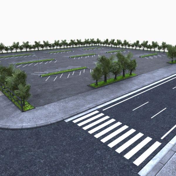 3d parking lot area model