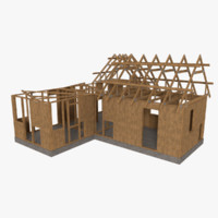 timber frame building construction 3d model