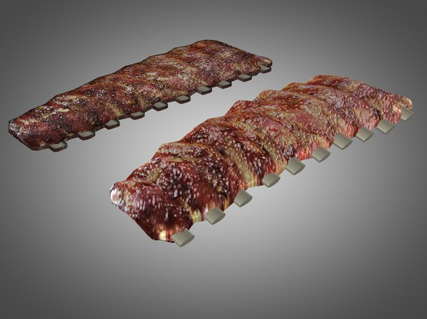 delicious barbecued ribs 3d model
