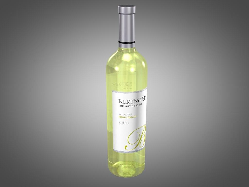 bottle beringer pinot grigio 3d 3ds