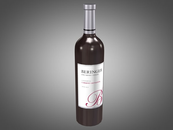 3ds max bottle beringer red wine