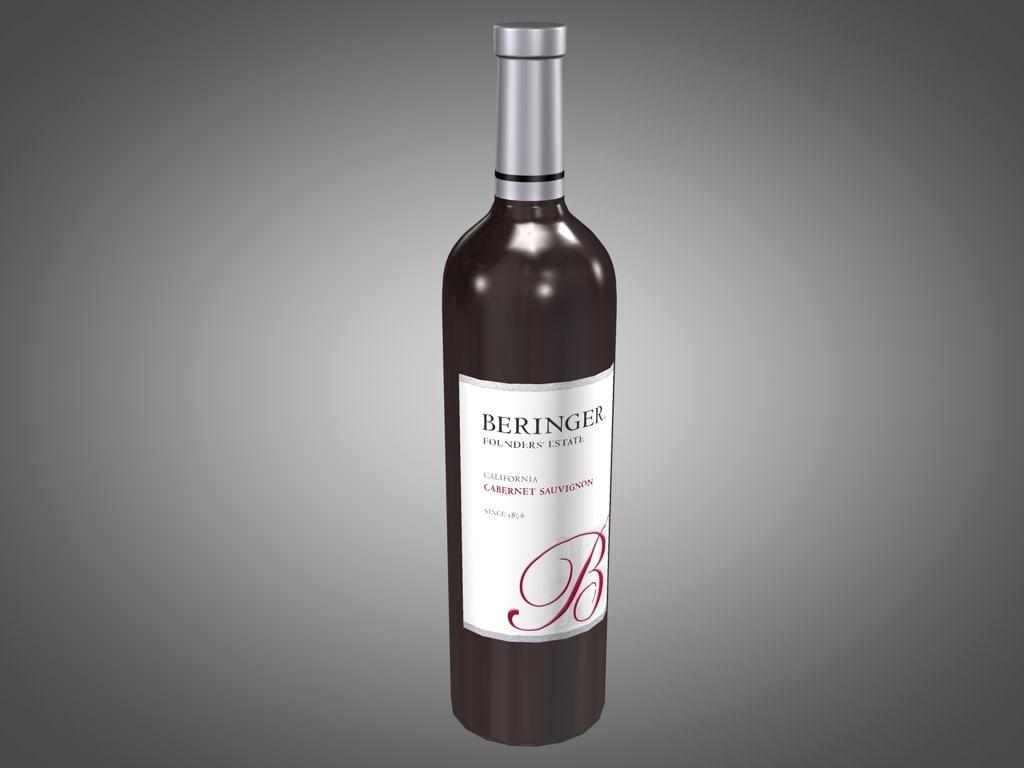 3ds max bottle beringer red wine