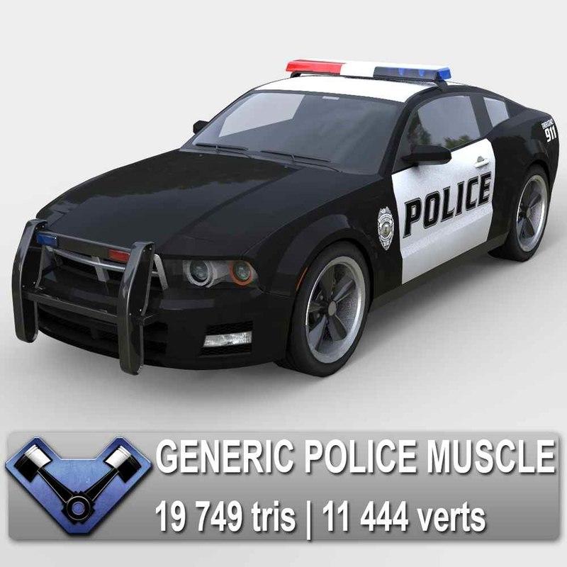 generic police car stallion 3d model