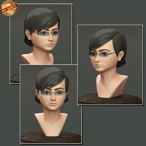 modeled female realistic 3d obj