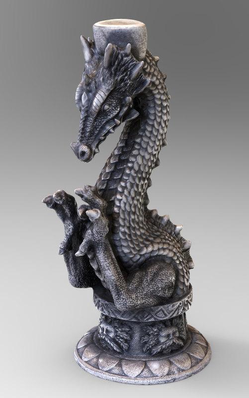 dragon candle 3d obj