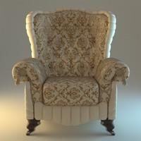 armchair beige 3d 3ds