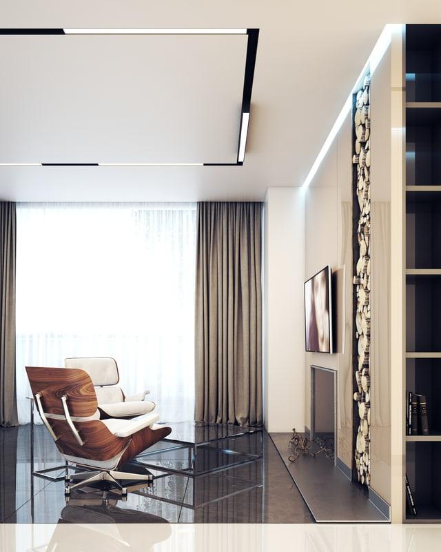 scene salon lobby fireplace 3d model