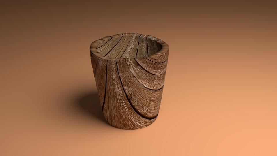 wood cup 3d blend