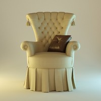 yellow soft armchair 3d model