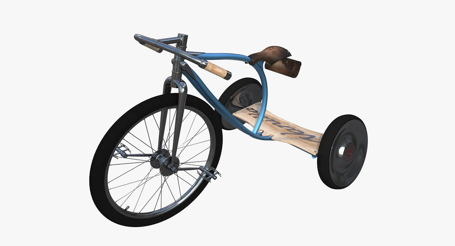 luxury kids vanilla bicycles 3d obj